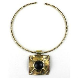 CTIGER EYE BRASS PENDANT NECKLACE - Click To Enlarge