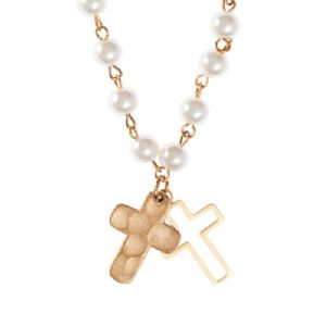 CDouble Cross And Glass Pearl Necklace - Click To Enlarge